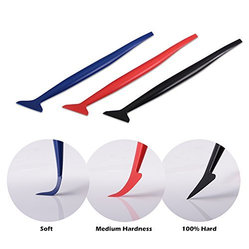 FOSHIO Vinyl Car Wrapping Flexible Micro Squeegee Curves Slot Tint Tool Set 3 in 1 with Different Hardness for Installing Vehicle Wraps and Auto Stickers