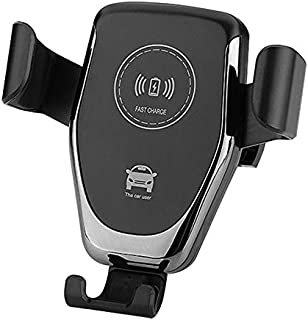 Wireless QI Car Charger - 10W Fast Charger - Drop in Gravity Car Mount - Easy Clamp On Vent System