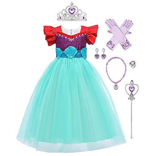 OBEEII Disfraz de Sirena Niñas, Vestido de Princesa Ariel Sirena Carnval Fancy Dress Costume The Little Mermaid Traje Fiesta Cumpleaños Cosplay Ceremonia Outfit 7-8 Años