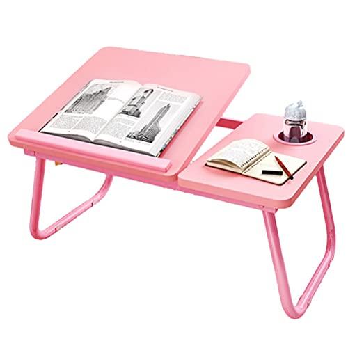 YUDIZWS Tavolino Regolabile per Computer Portatile Pieghevole Laptop Scrivania Colazione con Gambe Tavoletta Multifunzione Portabicchieri Lletto/Divano/Pavimento (Color : Pink)