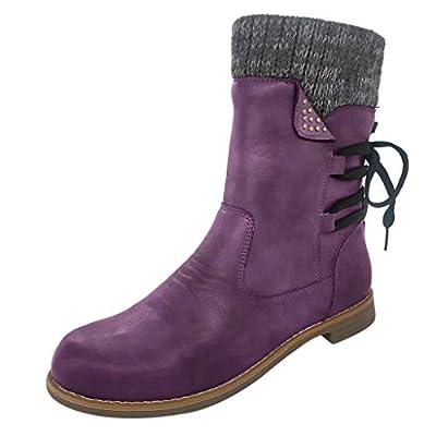 QueenMM Women's Snow Boots Warm Anti-Slip Side Zipper Lace-Up Warm Knit Winter Ankle Booties