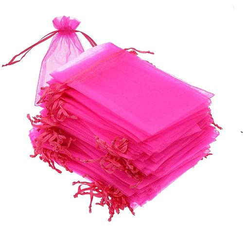100PCS Jewelry Bags, 3.5x4.5 inch Organza Bags, Gift Favor Pouch, Hot Pink Jewelry Bags, Sample Bags, 3-1/2W 4-1/2L Inch