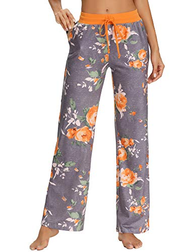 JOYMOM Pajama Trousers,Mama Drawstring Printed Relaxed Fit Athletics Pants for Womens with Pockets Daily Wear Grey Orange Flower L