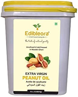 Edibleora Cold Pressed Groundnut / Peanut Oil - Unprocessed Peanut Oil for cooking (100% Pure Guranteed) (15 ltr)