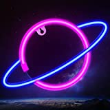 Neon Signs, Planet Neon Lights Led Signs for Bedroom Wall Decoration Planet Neon Sign for Aesthetic Room Decor Blue/Pink Led Night Lights Neon Decorative Lights for Bar/Home/Teen Room Decor/Christmas
