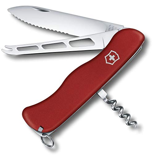 Victorinox Taschenmesser Käsemesser (6 Funktionen, Feststellklinge Wellenschliff, Käseklinge) rot