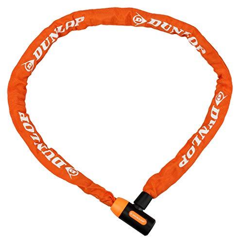 Dunlop - Kettenschloss mit 2 Schlüsseln | Sicherheitsschloss 120cm | Sicherung von Fahrrädern,Anhängern,Mopeds,Roller | Kettenglieder 5mm aus massivem Stahl mit Zinklegierung | Fahrradschloss(Orange)