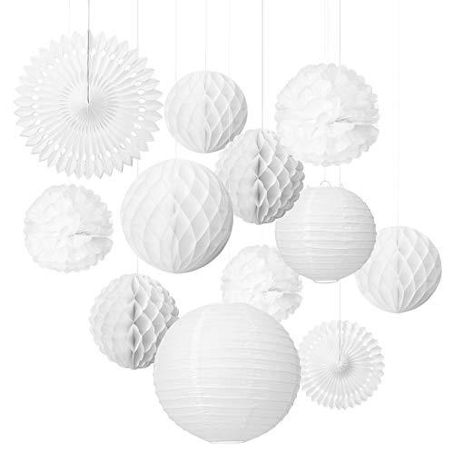LIHAO 12x Lampions Pom Poms Wabenbälle Fächer Dekoration Set Weiß für Hochzeit Feier Geburtstag Party Einschulungsparty Mottoparty Baby-Shower-Party (MEHRWEG)