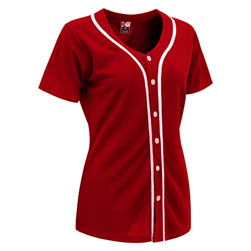 MOLPE Women Hip Hop Hipster Button Down Baseball Jersey (Red/White-1, L)