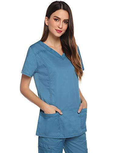 Aibrou Divisa Ospedaliera Casacca da Donna Camici da Lavoro Scollo V Uniformi Sanitarie per Infermiera Medico e Operatori Sanitari