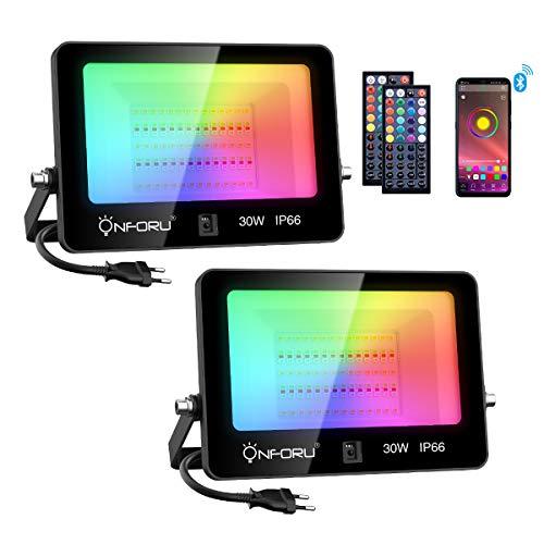 Onforu Foco LED RGB Exterior, 30W Proyector LED Bluetooth, IP66 Impermeable Foco de Colores, Foco RGB Controlado por APP con Control Remoto, 2700K blanco cálido, para Jardín, Parque, Fiesta