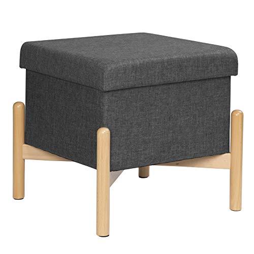 eSituro Sitzhocker Polsterhocker Aufbewahrungsbox Sitztruhe bis 150kg belastbar, mit Stauraum, Deckel Abnehmbar Holzbeine Dunkelgrau