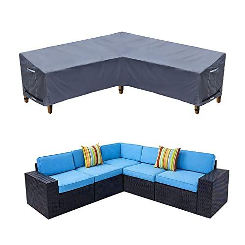 Funda para sofá esquinero de jardín, impermeable, lona de protección de salón...