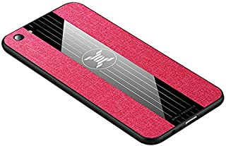 for Oppo A73 Case Acrylic Back Case Cloth Shockproof Protective Cover - Red