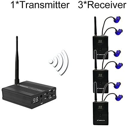 Moniel TP-WMS02 in-Ear Stage Audio Monitor System Professional 2.4GHz Digital Wireless Monitor System 1 Transmitter 1 Receiver