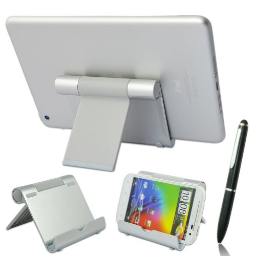 First2savvv silver universal multi-angle Luxury Polished Stainless Steel Stand dock docking station for iPad Air 2 iPad mini 3 Samsung Galaxy Tab PRO 12.2 Galaxy NotePRO 12.2' Tablet - 32 GB sony Z3 Tablet compact Huawei MediaPad T1 8.0 MediaPad M1 8.0 ARCHOS 70 Xenon 7' 3G Tablet ASUS MeMO Pad 8' Tablet with stylus pen