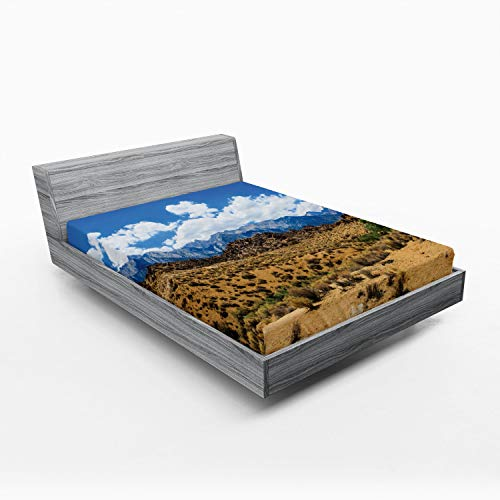 Ambesonne Alabama Fitted Sheet, Landscape of Barren Lands of Nevada Mountains with Rock Formations on The Slopes, Soft Decorative Fabric Bedding All-Round Elastic Pocket, Full Size, Multicolor