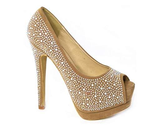 Zapatos de tacón alto con diamantes de tacón alto y plataforma oculta,...