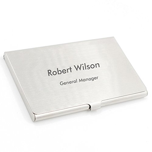 OACREMEMBERED Personalized Silver Brushed Stainless Steel Business Card Holder Case - Free Engraving
