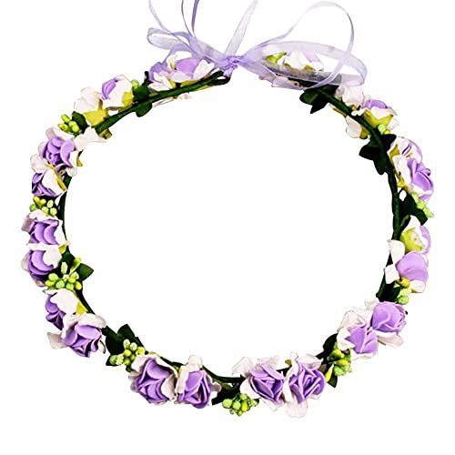 Slience Diadema de guirnalda de hadas con flores, accesorio para el pelo, diadema de dama de...