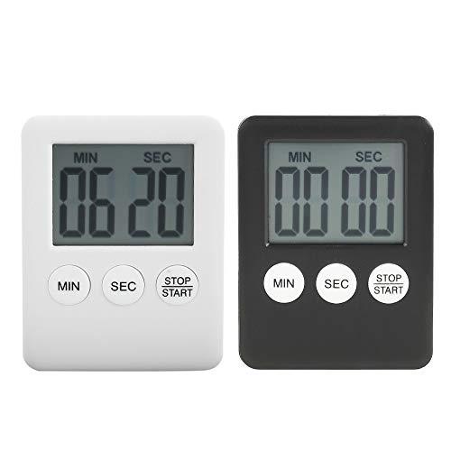 Kurzzeitwecker 2 Stück Digitaler Küchentimer Kurzzeitmesser Timer Magnetisch Eieruhr Küchenuhr Countdown Stoppuhr Küche mit LCD Lauter Alarm zum Kochen Backen, mit Batterie (Schwarz + Weiß)