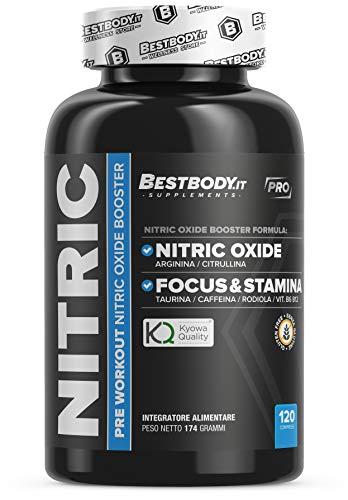 Nitric PRO (120cpr) - Pre Allenamento con Arginina, Citrullina Kyowa®, Caffeina, Taurina, Rodiola, Magnesio, Potassio e Vit. B - BestBody.it