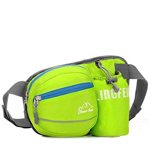 Pack de taille d'alpinisme avec support de bouteille sac d'attente sac banane sac banane ceinture poche pour l'extérieur Running Camping trekking randonnée 4 couleurs H22 x W12 x T14 cm , green