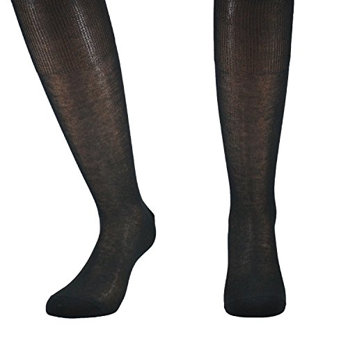 Fontana Calze, 6 paia di calze UOMO lunghe in 100% Cotone Filo di Scozia. NERO TG 42/44,5