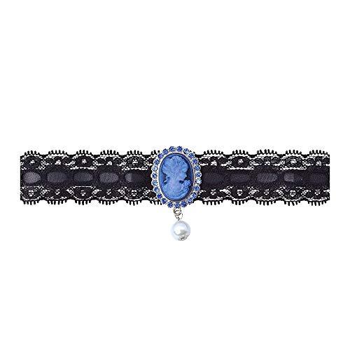 Bristol Novelty - Gargantilla con camafeo y perla (Tamao nic) (Negro)