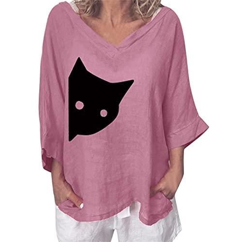 NAQUSHA Camiseta de manga 3/4 para mujer, algodón, lino, talla grande, para primavera, verano, cuello en V, estampado de gato, Rosa., L