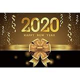 Toile de fond en vinyle pour photographie « Happy New Year 2020 » - 1,5 x 0,9 m - Ruban doré - Pour cérémonie annuelle - Joyeux Noël - Carnaval - Carte de vœux - Portrait