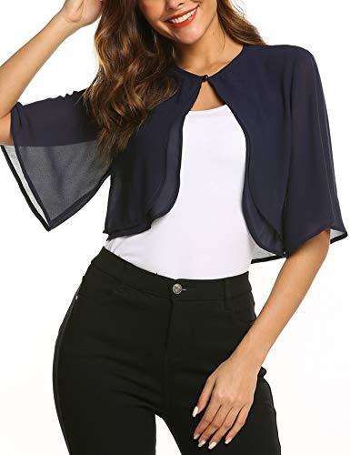 SoTeer Women Short Sleeve Sheer Shrug Open Front Bolero Cardigan Loose Blouses, Navy Blue, M