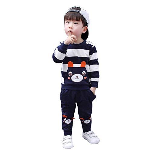 Bekleidung 2018 Jungen Mädchen Kinder Kleidung Langarm T-Shirt Set Freizeit Outfits Kinder Jungen Baby Gentry Formaler Party Taufe Hochzeit Smoking Bogen Anzüge Sakkos (Marine, 100)