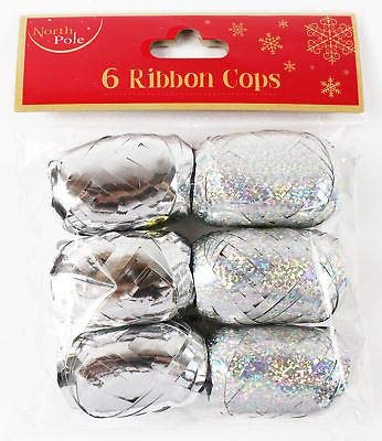 6 Silver Ribbon Cops Metallic Holographic Christmas Xmas Gift Wrapping Present