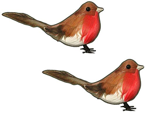 Toyland Pack of 2 - Wired Robins - Cake Toppers - Christmas Tree Decorations