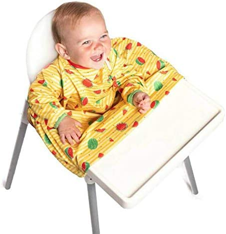 BiBADO Baby & Toddler Weaning Bib Award Winning Coverall Attaches to Your Babies Highchair & Table Long Sleeves Waterproof Catches Food One Size Fits All (Green)