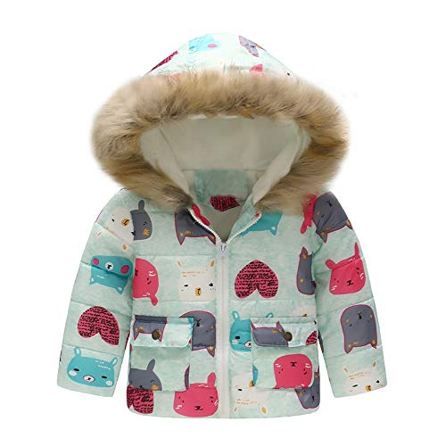 VICKY-HOHO Günstige Kinderkleidung Sommer, 18-24 Monate Kleinkind Baby Mädchen Junge Cartoon Katze Winter warme Jacke Kapuze Windjacke Mantel Unisex Chic Kindertag Geschenk (Mint)