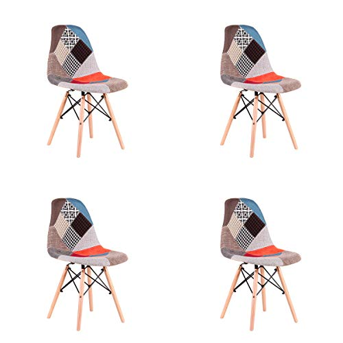 WV LeisureMaster Set mit 4 Sesseln, Leinen, mit Patchwork, Stuhl, skandinavischer Stil, Mehrfarbig