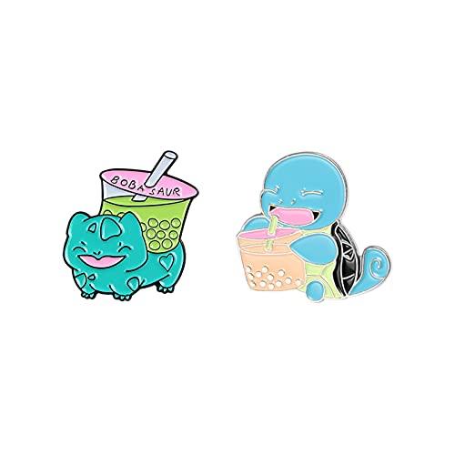 lliang Broche Linda Dibujos Animados Tortuga de Esmalte Pin Animal Boba Leche Tea Camisa de Verano Ropa Brooche Insignia para Bolsa Lamera Regalo Amigos (Metallfarbe : Set)