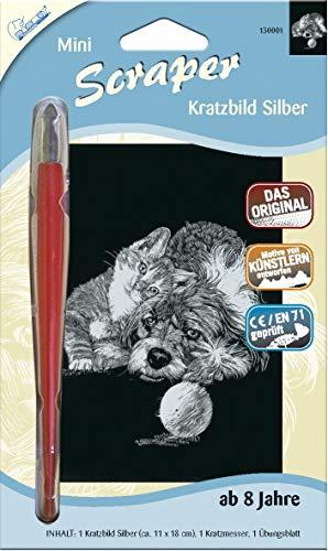 MAMMUT 130001 - Kratzbild, Motiv Katze und Hund, silber, glänzend, mini, Komplettset mit Kratzmesser und Übungsblatt, Scraper, Scratch, Kritzel, Kratzset für Kinder ab 8 Jahre