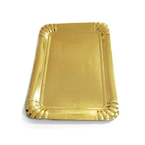 Lotto di 50 vassoi in cartone dorato - Vassoi di presentazione per dolci o buffet freddo (14 x 21 cm)