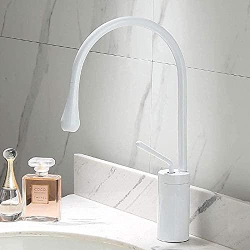 Grifo de lavabo dorado cepillado Grifo de una sola palanca Caño giratorio 360 Grifo mezclador de latón para cocina Fregadero de baño de agua fría y caliente Níquel cepillado A2 Chin-China_White_A2