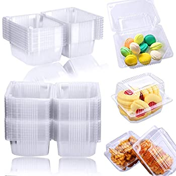 Twdrer 100PCS Clear Plastic Square Hinged Food Container,Disposable Clamshell Fruit Salads Hamburger Sandwiches Cupcake Cups Holders Cases Boxes Containers with Lids 5.3  x 4.2  x 3.4