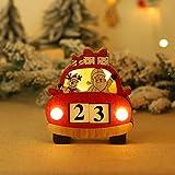 Navidad de la Historieta de Coches Calendario de Adviento Brilla la luz de Escritorio de Madera Decoración de Cuenta atrás Calendario Calendario de Adviento de Navidad Calendario
