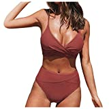 riou Traje De Baño Mujer Push up Sexy Conjuntos de Bikinis para Mujer Cintura Alta Acolchado Bra Tops y Braguitas Bikini Sets Talla Grande Bañador