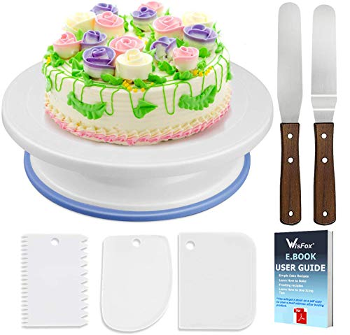 WisFox Soporte de torta giratorio de placa de pastel de Plato giratorio de decoración de pastel de placa giratoria con 2 juegos de cuchillos, juego de 3 capas suaves de glaseado(de plástico)
