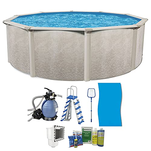 Aquarian Phoenix 18' x 52' Steel Frame Above Ground Swimming Pool, Pump and Ladder Kit with Sand Filter, Pool Liner, Skimmer, and Cleaning Accessories