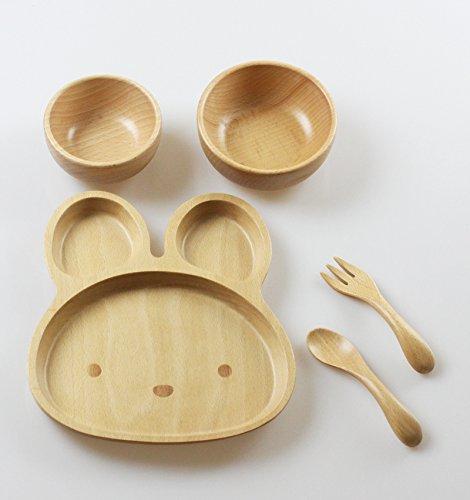 藤代工芸『お食い初め北欧産のブナの木で作られた子供食器セットうさぎ』