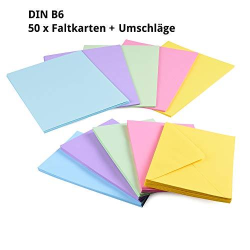 Sparset 50 x Faltkarten DIN B6 blanko farbig gemischt + 50 x Umschläge - 2