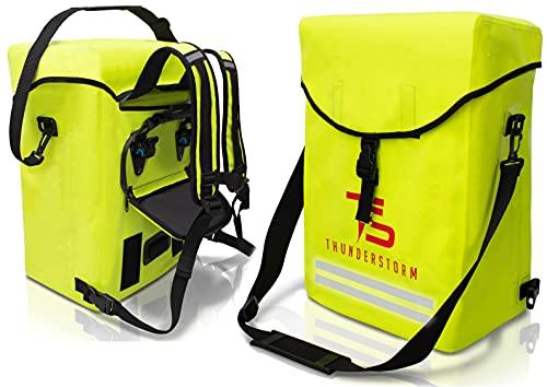 Thunderstorm © 3in1 Fahrradtasche 27L für Gepäckträger mit Rucksack, reflektierende Signalfarbe, 100{502100b47d8273445cbac0c7a45da4b874625d9ebac90fb0a3b114ad4214c38c} wasserdicht mit Klappdeckel und Polster